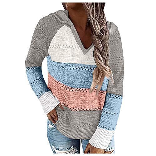 TopPKUAL - Sudadera con capucha para mujer, cuello en V, para otoño e invierno, elegante, a rayas, de punto de patchwork, de manga larga, con cordón #01-gris claro XXXXXL