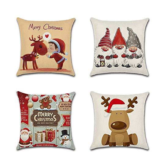 Dylandy, Set di 4 federe per cuscini natalizi, con cerniera, per divano, sedia, auto, 45 x 45 cm