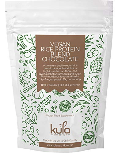 Kula Nutrition - Vegan Rice Protein Powder Blend - Chocolate - 250g (10x 25g Servings) – High Fibre, Low Fat, Low Sugar Dairy and Gluten Free Rice Protein Isolate Powder Blend. Made in The UK to GMP.