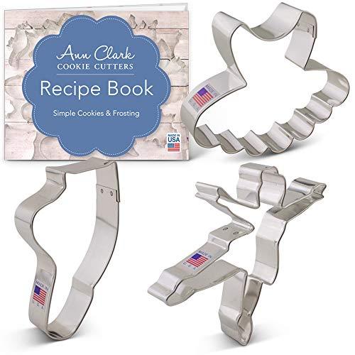 Ann Clark Cookie Cutters 3-Piece Ballet/Dance Cookie Cutter Set with Recipe Booklet, Ballerina, Tutu and Ballet Shoe
