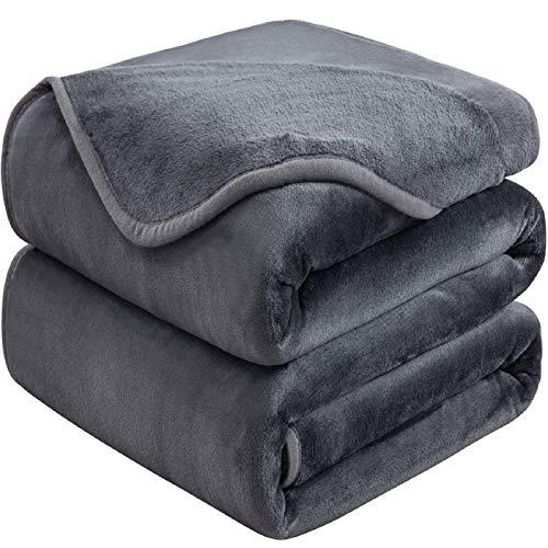 Mantas para Sofa 220x240 cm Gris Oscuro ,Mantas para Cama de Franela Reversible,Mantas Ligeras de 100% Microfibra - Fácil De Limpiar - Extra Suave Cálido