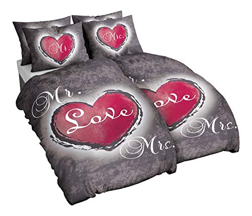 Niceprice Winter Partner Bettwäsche Microfaser Flausch Fleece Heart Love in 135x200 und 155x220, 2X 135x200 + 2X 80x80