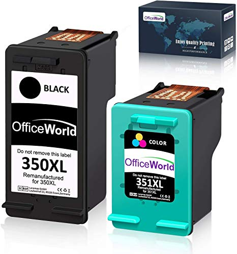 OfficeWorld Remanufactured HP 350 351 Cartucce d'inchiostro 350XL 351XL Compatibile per HP Photosmart C4480 C4280 C5280 C4580 C5200 C4270, HP Officejet J5780, HP Deskjet D4260 (1 Nero, 1 Colore)