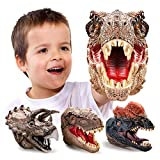 Geyiie Dinosaur Hand Puppets, Soft Rubber Dinosaur Toys Set, Realistic Tyrannosaurus, Dilophosaurus, Triceratops Puppet Toys for Kids Boys Girls Adult, Party Favor Gift Imaginative Play, 3 Pack