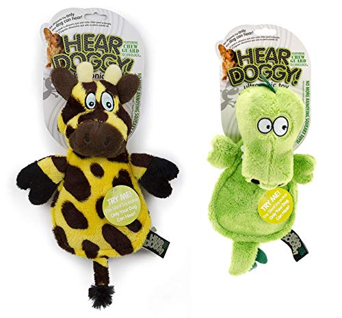 Hear Doggie Flats Gator and Giraffe Variety Bundle, Large, Silent Squeak Dog Toys with Chew Guard Technology