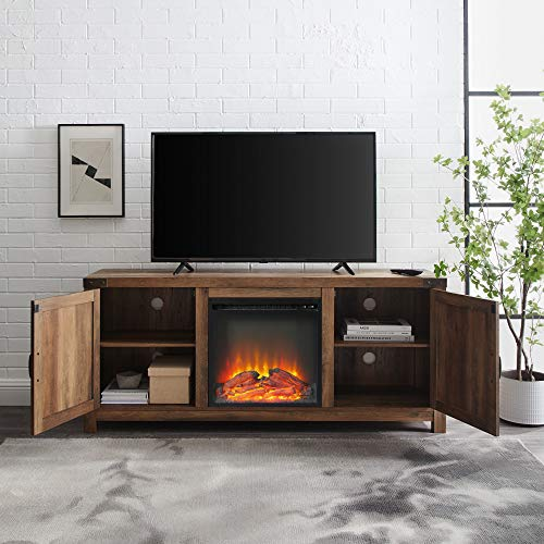 Walker Edison Georgetown Modern Farmhouse Double Barn Door Fireplace TV Stand for TVs up to 65 Inches, 58 Inch, Rustic Oak