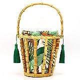 Bolso de playa hueco de tejido ingenioso, bolso tejido de bambú hecho a mano, bolso de mano, bolso de mano, bolso de playa hueco para vacaciones, con elegante decoración de borlas para vacaciones