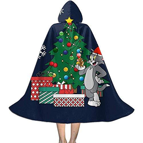 Not Applicable Disfraz De Mago,Tom Y Jerry Alrededor del rbol De Navidad Capas De Capa De Bruja Premium con Sombrero para Disfraces De Brujos 118cm