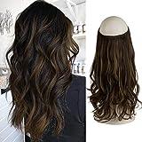 FESHFEN Extension Fil Invisible Cheveux, 46 cm Ondulé Extension de Cheveux Fil Wire in Hair Extension à Fil Cheveux Synthétique Rajout Cheveux pour Femme, 130 g