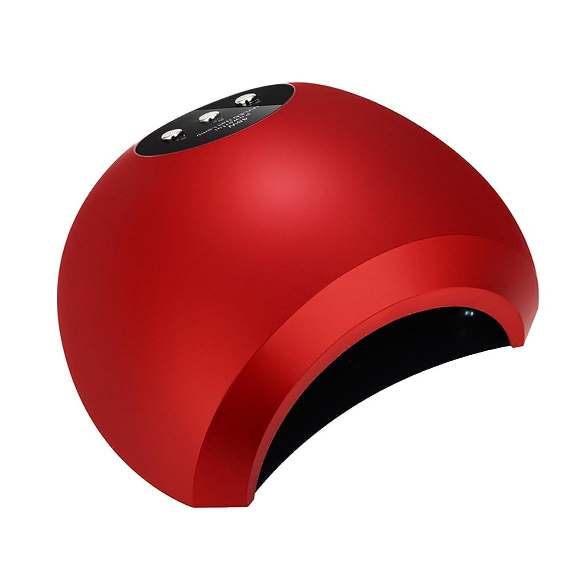 菊水分裸ネイル光線療法機 ネイルライト - ネイルドライヤー48WフォトセラピーマシンネイルポリッシュジェルLEDフォトセラピーライトファーストドライツールはブラックハンドではありません (色 : Red)