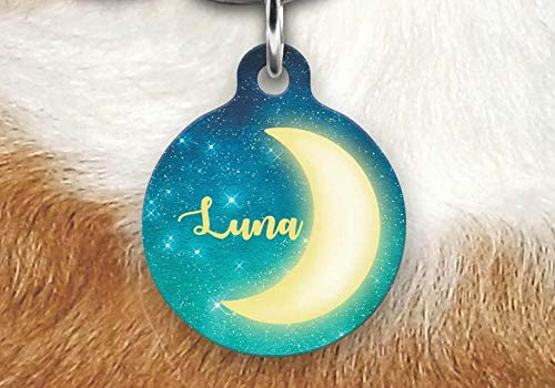 uRahox1EHK Moon Pet Tag, Girly Pet Tag, Dog Tag for Dogs, Personalized Pet ID Tag, Round Pet Tag, Luna Customized Name Pet Tag, Dog Tag, Custom Dog Tag