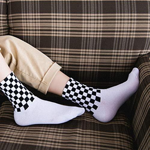 Chaussettes de sport élastiques absorbant la sueur Chic Casual Blanc et à carreaux pour homme Doux (Noir) - Blanc - taille unique