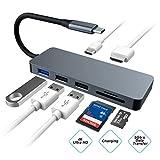 Hub USB C vers HDMI 4K, 7 en 1 Concentrateur de Type C vers USB, Lecteur de Carte SD/TF Adaptateur pour Macbook Pro 2018,...