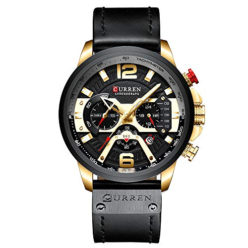 Mens Watches,CURREN Watches Quartz Analog Calendar Wrist Watch for Men, Fashion Waterproof Watch with Leather Strap