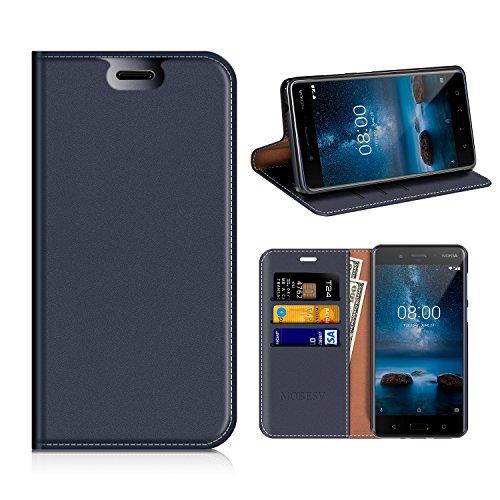 MOBESV Nokia 8 Hülle Leder, Nokia 8 Tasche Lederhülle/Wallet Hülle/Ledertasche Handyhülle/Schutzhülle mit Kartenfach für Nokia 8 - Dunkel Blau