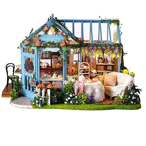 NXYJD PTUYZHYX Madera de Casas de muñecas, casa de té de la Cabina Hecha a Mano de Arquitectura Modelo de Madera del Edificio Villa Regalo Innovador for niños Kits Miniatura