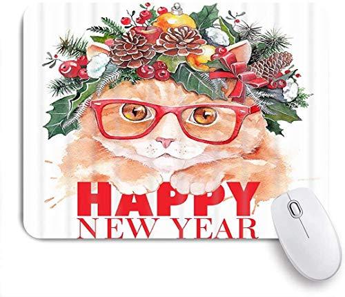 Mauspad weihnachtsmode lustiger katzenkopf mit kiefern und blättern urlaub customized art mousepad rutschfeste gummibasis für computer laptop schreibtisch schreibtischzubehör