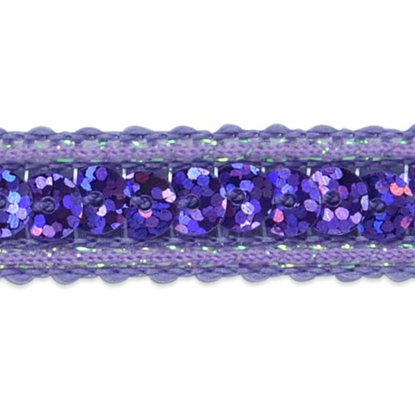 Expo International Single Row Sequin with Sparkle Edge Trim, 20-Yard, Purple