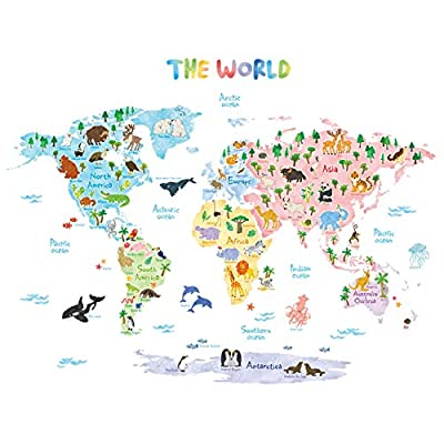 DECOWALL DAT-1615S Animal World Map Kids Wall Decals Wall Stickers Peel and Stick Removable Wall Stickers for Kids Nursery Bedroom Living Room (Large)