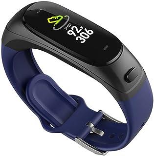 AIFB Pulsera Elegante del Auricular de Bluetooth, Podómetro Pulsómetros Fitness Tracker Despertador Monitor de sueño pulsioxímetro para Android iOS Phone,Blue-OneSize