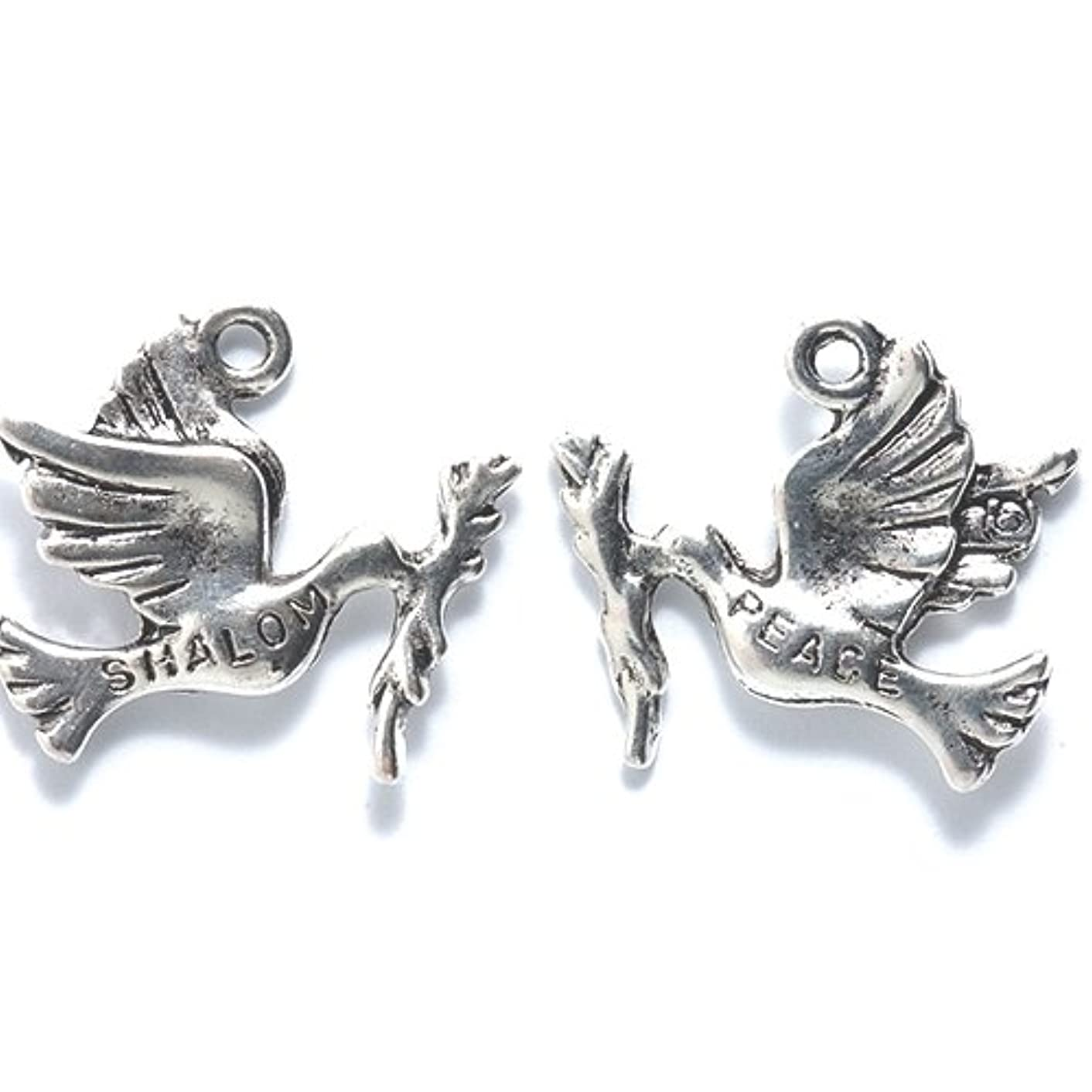 Shipwreck Beads Zinc Alloy Dove Charm with Branch Peace/Shalom, 20mm, Silver, 20-Pack
