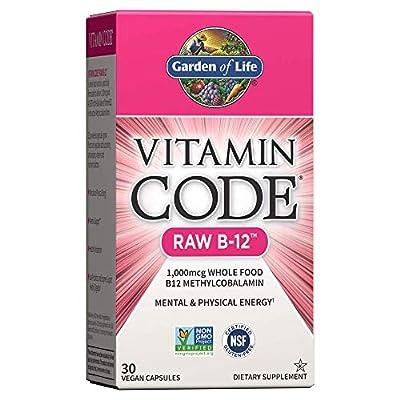 Garden of Life Vitamin B12 - Vitamin Code Raw B12 Whole Food Supplement, 1000 mcg, Vegan, 30 Capsules