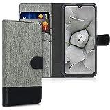 kwmobile Wallet Hülle kompatibel mit Motorola Moto G9 Play/Moto E7 Plus - Hülle mit Ständer - Handyhülle Kartenfächer Grau Schwarz