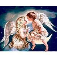 Diy 5Dダイヤモンド塗装天使少年と少女フルサークルダイヤモンド刺繍クロスステッチラインストーン家の装飾-40cmx60cm