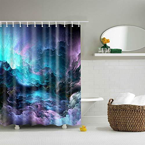 XCBN Kreativ personlighetsdesign stjärnklar himmel mönster duschdraperi 3D mörkläggningsgardin, vattentät och mögelbeständig för badrum A3 150 x 180 cm