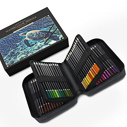 Orionstar 72 Watercolor Pencils Set with Zipper Case for Adult Artist Beginner, Vibrant Numbered Pencil with Premium Soft Core, Professional Art Supplies for Sketching Shading Coloring Book