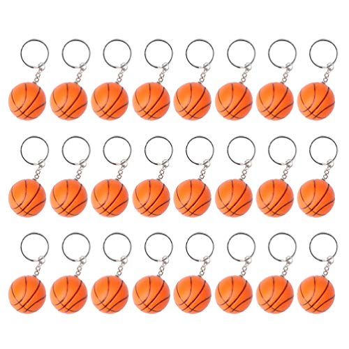 Nuobesty Schlüsselanhänger Basketball Schlüsselanhänger Sportball für Geschenke, Karneval, Schule, Geschenk, 24 Stück