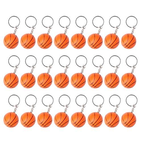 NUOBESTY - Llavero de baloncesto con diseño de baloncesto y balón de deporte para regalos, recompensa de carnaval escolar, rellenos de regalo de bolsa de fiesta, pack de 24