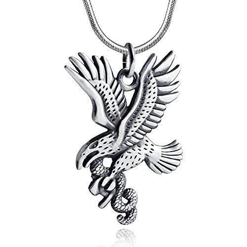 MATERIA 925 Silber Herren Kettenanhänger Adler mit Schlange - Silberschmuck Anhänger antik für Halskette + Box #KA-247