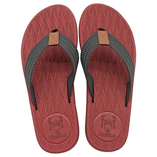 KuaiLu Flip Flops Herren Comfy Breite Füße Rutschsicher Badelatschen Weich Flach Fußbett Bade Sandalen rutschfest Sommer Strand Zehentrenner