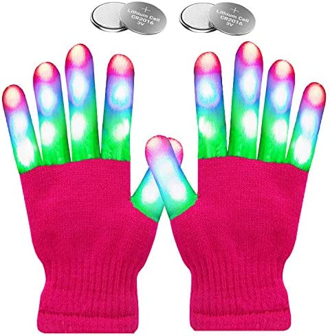 W plus Flashing Finger Lighting Gloves LED Colorful Rave Gloves 7 Colors Light Show Light up product image