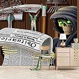 VITICP Papel Pintado Pared Fondo de Pantalla 3d Personalizado Póster hoz parca Murales de Pared para Niños Dormitorio Sala de Estar Guardería Escuela Decoración de La Habitación 200x140 cm
