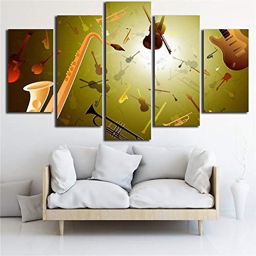 dxycfa 5 Panels Gemälde Musikinstrumenten-Trompete Leinwandbild Wandbilder Wohnzimmer Wohnung Deko Kunstdrucke 5 Teilig (Rahmenlos) 150Cmx80Cm