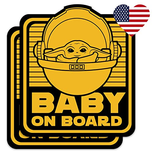 Saturdays Co. 2-Pack Cute Baby Yoda on Board 4x5 Vinyl Decal Stickers - for Car, Truck, Vehicle, Window, Bumper, Laptop, MacBook, Hydroflask, Yeti