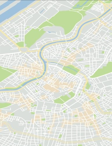 2017, 2018, 2019 Weekly Planner Calendar - 70 Week - Travel Map: Google Style City Street Road Map