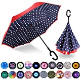 MRTLLOA Inverted Umbrella, Umbrella Windproof, Reverse Umbrella, Umbrellas for Women with UV Protection, Upside Down Umbrella with C-Shaped Handle for Mothers Day Gifts(N-Red Dot)
