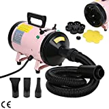 Voilamart Pet Grooming Hair Dryer for Dogs and Cats, 2800W 3.7HP High Velocity 2 Speed Adjustable Temperature Fur Hairdryer Blaster Pink w/Heater