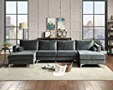 Sectional Sofa Sets Modern Elegant Velvet with Two Pillows, Upholstered U-Shaped Sofa Couch for Living Room/Apartment, Gray