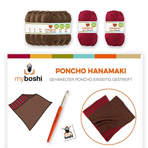 myboshi Häkel-Set Poncho Hanamaki | aus No.2 | Anleitung + Wolle | mit passender Häkelnadel | Häkel-Poncho-Set | Walnuss Chillirot