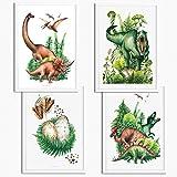 Sunnywall® 4er Set Dinosaurier T-Rex Brachiosaurus
