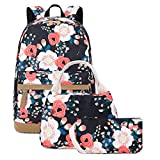 Floral Canvas Backpack Set Girls College Bookbag with Lunch Bag and Pencil Bag