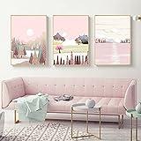 Pintura de la lona Pink Sky Lake Nordic Pósters e impresiones Sun Mountain Tree Wall Art Paisis Lienzo Pintura Pintura de la pared para la decoración de la sala de estar