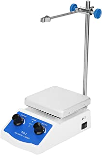 TOPQSC Magnetic Stirrer Lab SH-3 Mixer Magnetic Spinner Hot Plate 100-1600rpm Stir Plate 380/°C Heated Magnetic Mixer Dual Controls for Heating and Stirring 3,000mL