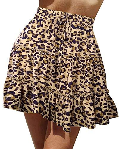 Doballa Damen Floral Taille Kordelzug mit Rüschen Ausgestelltes Boho A-Line Plissee Skater Minirock (S, Khaki Leopard)