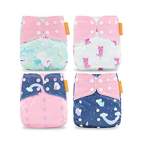 Wenosda 4PCS Baby Taschenwindeln StoffwindelWaschbare wiederverwendbare Windeln Legen Sie eine All-in-One-Taschenwindel für die meisten Babys und Kleinkinder ein (Pink Cloud Einhorn)