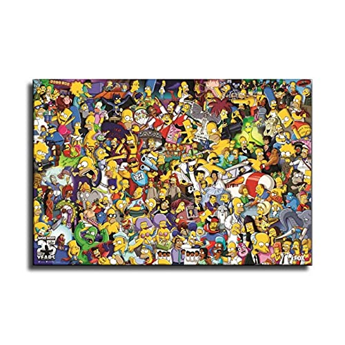 YuFeng_Art_Inn The Simpsons All Characters Cartoon Poster Decorative Painting Canvas Wall Art Living Room Posters Bedroom Painting 24×36inch(60×90cm)